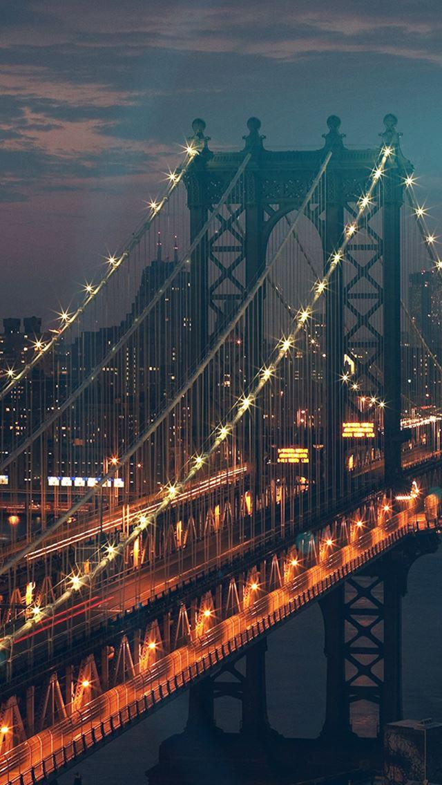 Bridge City River Flare Blue Night View Nature IPhone Se Wallpaper