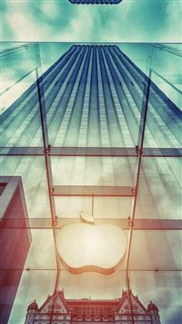 Apple Store NYC Window Reflection iPhone se wallpaper