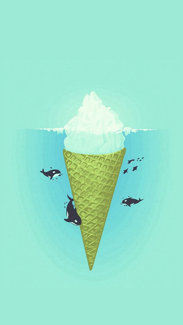 Whale Illust Green Sea Icecream Iiceberg IPhone Se Wallpaper
