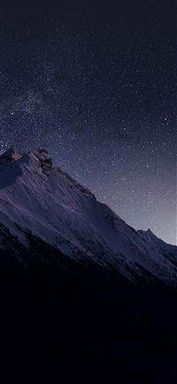 Mountain Night Snow Dark Star iPhone 5(s/c)~se wallpaper
