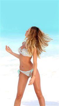 Candice Swanpoel Victoria Ocean Summer Bikini iPhone se wallpaper
