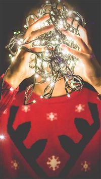 Christmas Lights Reindeer Sweater iPhone se wallpaper