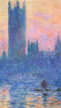 Claude Monet Classic Painting Art Sunset Pattern iPhone se wallpaper