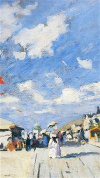 Classic Art Paint Boardwalk On Claude Monet Winter Snow iPhone se wallpaper