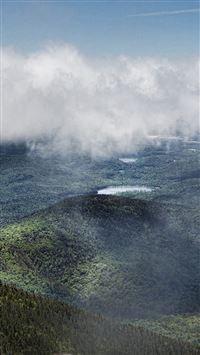 Mountain Green Fog Cloud Nature View iPhone se wallpaper