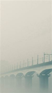 Foggy Bridge River Green iPhone se wallpaper
