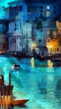Art Classic Painting Water Lake Night Blue iPhone se wallpaper