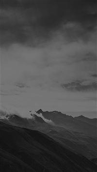 Mountain Art Fog Nature Dark Bw iPhone se wallpaper