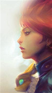 Girl Illust Anime Art Paint Fly Red Hair Flare iPhone se wallpaper