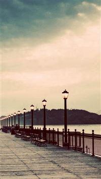 Long Street Pier Skyscape Scenery iPhone se wallpaper