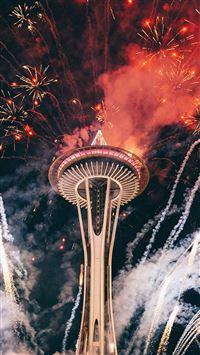 Firework Night Sky Lovely Tower City iPhone se wallpaper