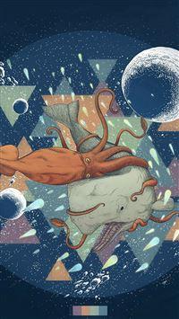 Diamond Sea Octopus Whale Illust Art Blue iPhone se wallpaper