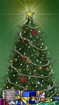 Christmas Pine Tree Around Gifts iPhone se wallpaper