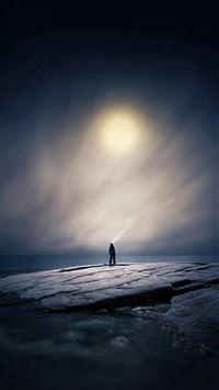 Moonlight Night Dark Soft Illustration Art iPhone se wallpaper