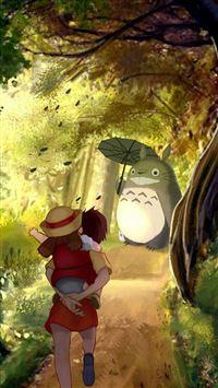 Grove Totoro With Umbrella Waiting Kids Road Anime Cartoon Cute Film iPhone se wallpaper