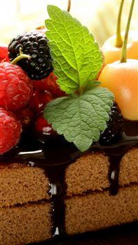 Cake Chocolate Frosting Berries Cherries Raspberries Currants Blackberries Mint Sweet Dessert iPhone se wallpaper