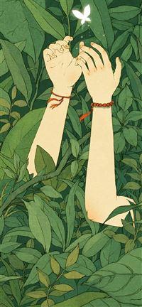 500 2 Green Wood Forest Love Butterfly Illustration Art IPhone Se Wallpaper