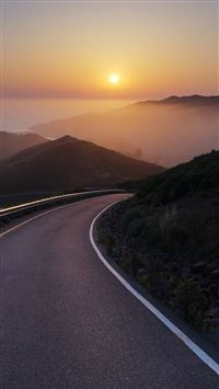 Conzelman Road Sunset Turning Road Sea iPhone se wallpaper