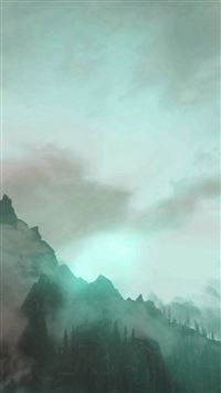 Foggy Mountain Sunshine Nature Green iPhone se wallpaper