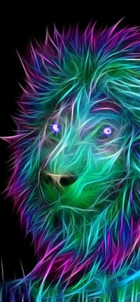 644 3 Abstract 3D Art Lion Colorful Hair IPhone Se Wallpaper