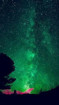 Aurora Night Sky Star Space Nature Green iPhone se wallpaper