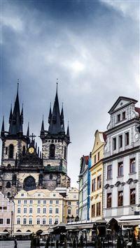 Czech Republic Prague Street Building Evening iPhone se wallpaper