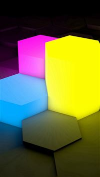 3D Picture Lights Cube iPhone se wallpaper