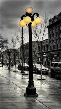 Street City Evening Black White Lights Buildings iPhone se wallpaper