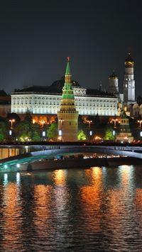 City Moscow Night Lights Bridge Reflection River iPhone se wallpaper