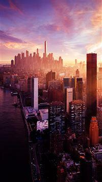 New York Sunset City Skyline iPhone se wallpaper
