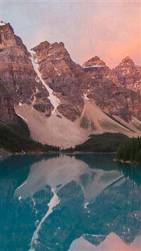 Lake Mountain Pink Sunset Nature iPhone se wallpaper