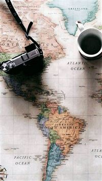 World Map Travel Plans Camera Coffee iPhone se wallpaper