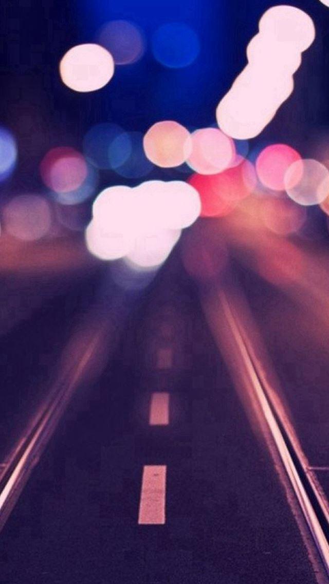Tram Rail Track Road Bokeh iPhone se wallpaper