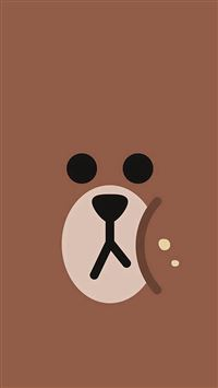 Line Chractor Cute Brown Illustration Art iPhone se wallpaper