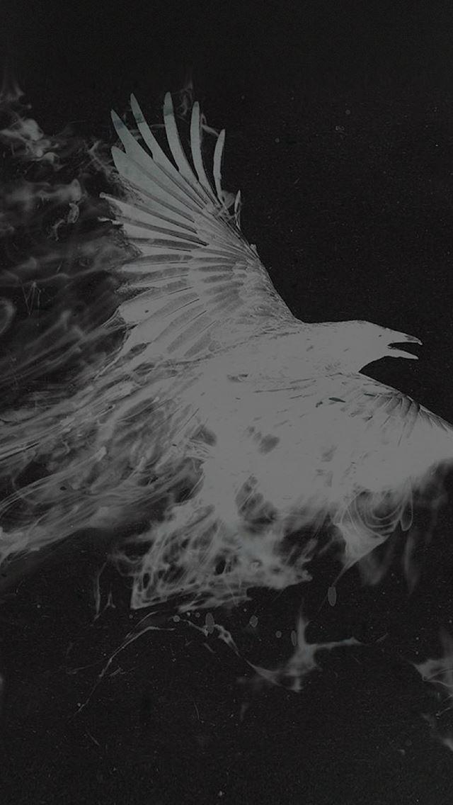 White Bird Smoke Art Illust iPhone se wallpaper