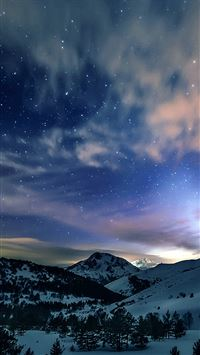 Aurora Star Sky Snow Mountain Winter Nature iPhone wallpaper