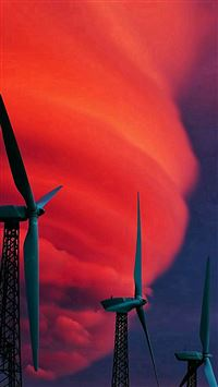 Wind Turbines Red Clouds iPhone se wallpaper