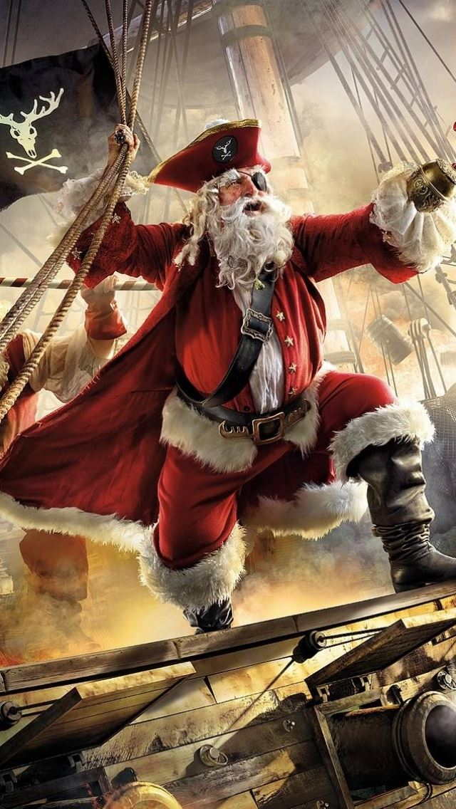 Santa claus pirate ship gifts sea stor iPhone se wallpaper