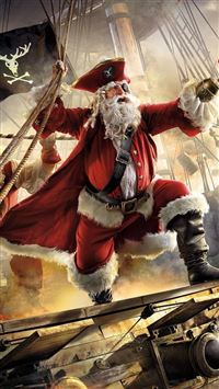 Santa claus pirate ship gifts sea stor iPhone se wallpaper