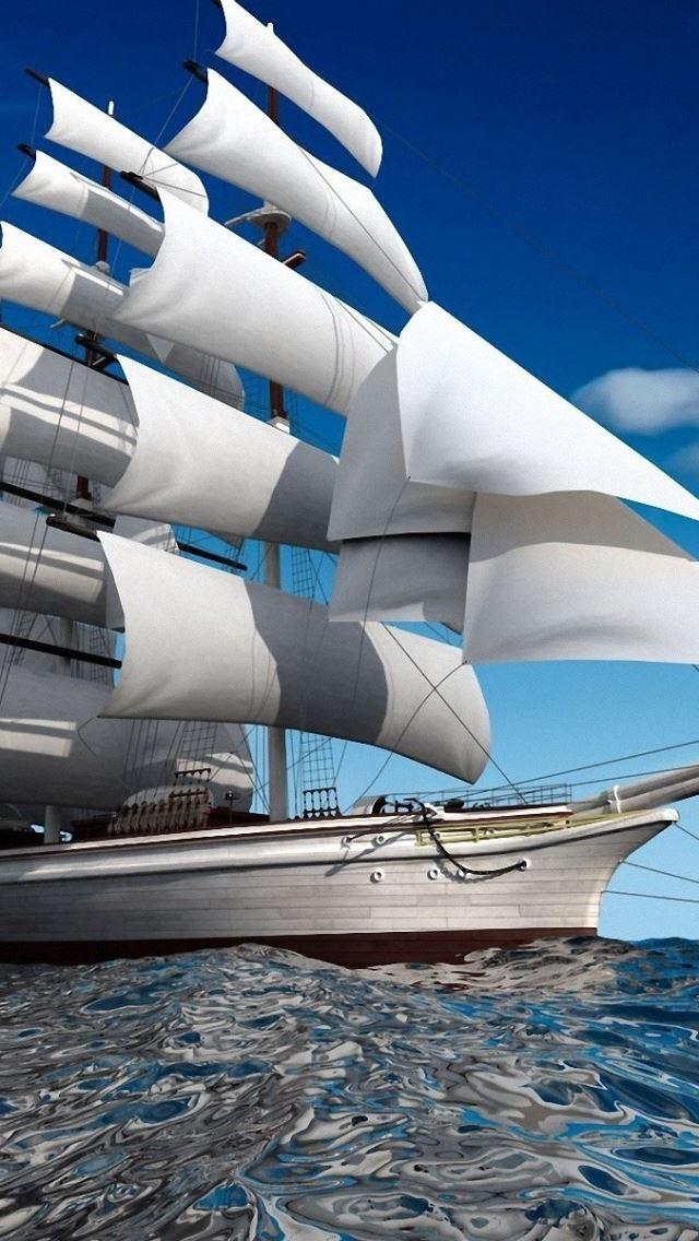 Ship sea swim sail iPhone se wallpaper