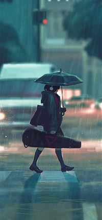 Rainy day anime girl iPhone se wallpaper