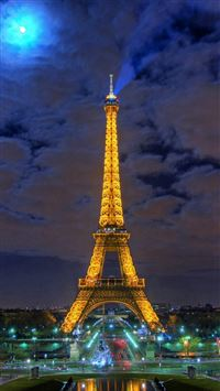 Eiffel tower paris france night iPhone se wallpaper