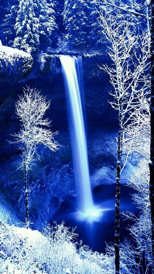 Winter rock falls frost snow iPhone se wallpaper