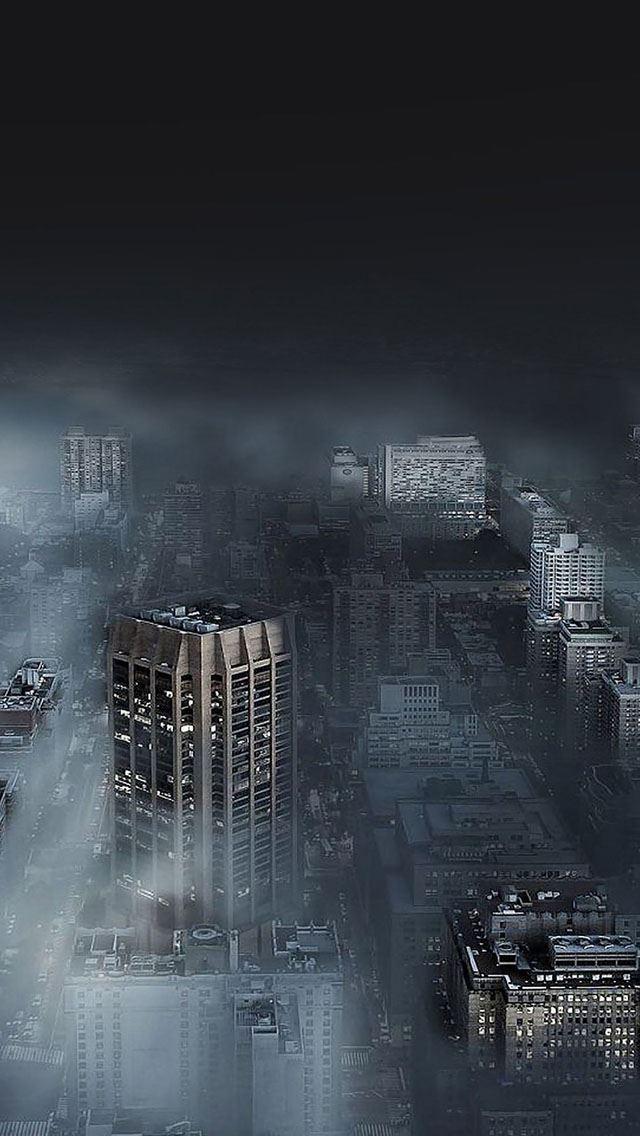 Dark city in fog iPhone se wallpaper