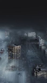 Dark city in fog iPhone se wallpaper