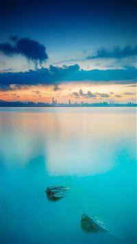 City view river lake blue sunset iPhone se wallpaper