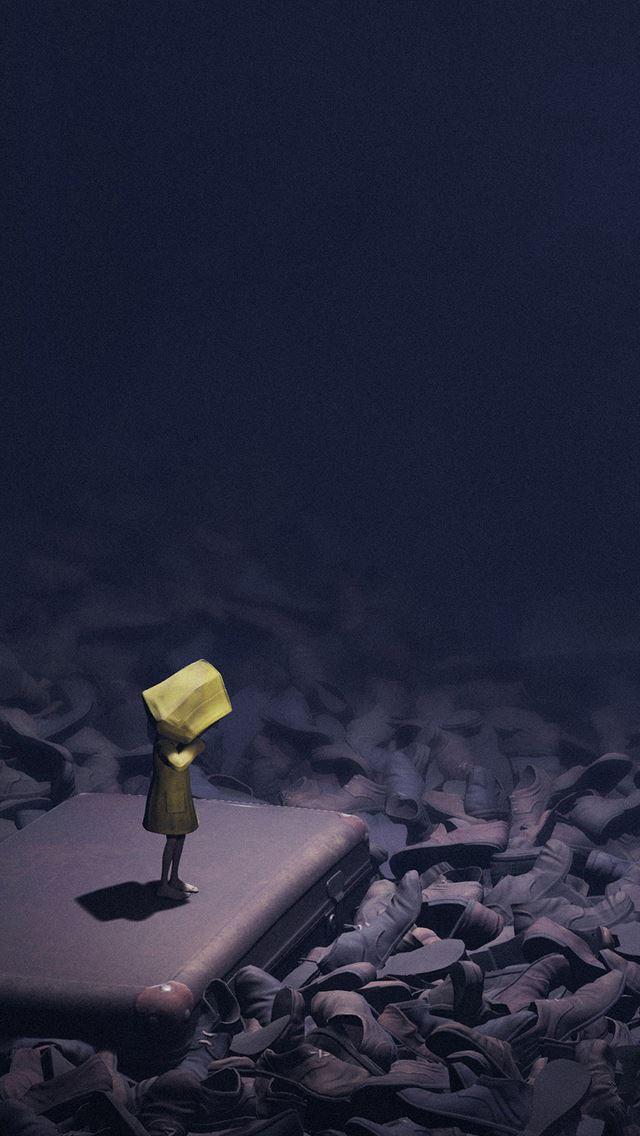 Little nightmares dark anime art illustration iPhone se wallpaper