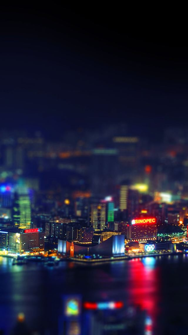 Hongkong night cityscapes lights iPhone se wallpaper