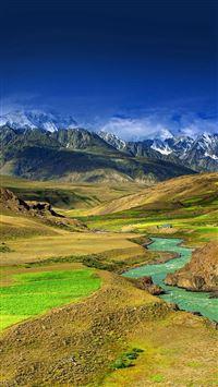 Mountain green river iPhone wallpaper