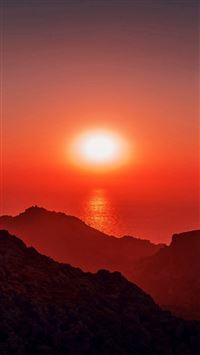 Sunset afternoon rock mountain red iPhone wallpaper